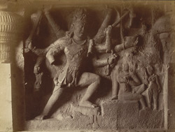 Bhairava in Dumar Lena [Sculptured panel of Shiva spearing Andhaka in Hindu Cave XXIX (Dumar Lena), Ellora.]